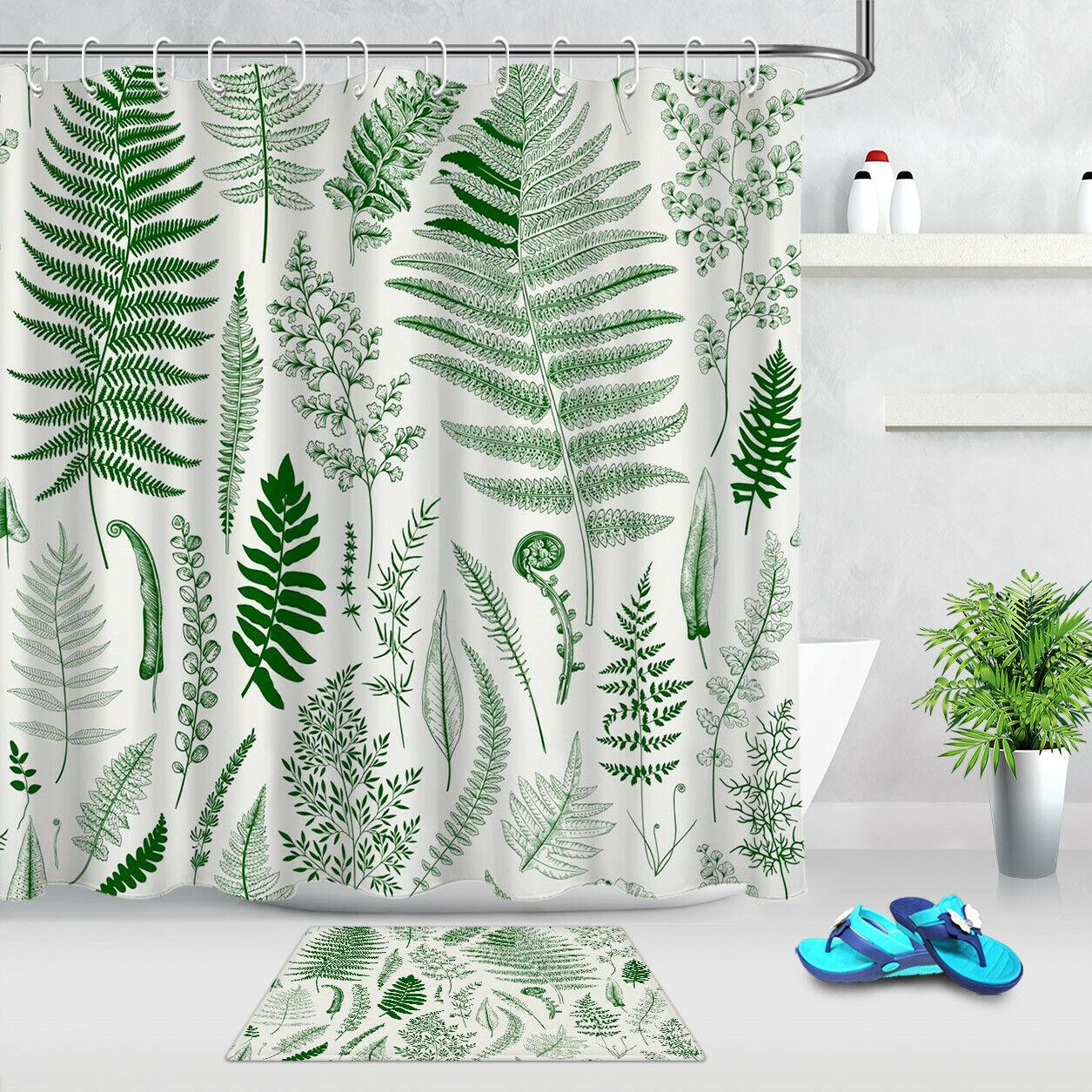 Green Plant Leaves White Shower Curtain Hooks Waterproof