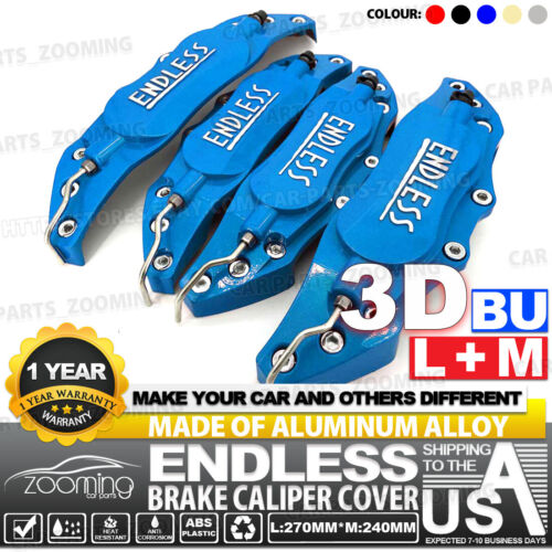 Metal 3D ENDLESS Style Universal Brake Caliper Cover 4x Blue Front Rear L+M LW02