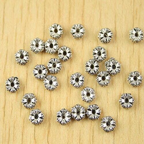 100pcs Tibetan silver flower design spacer beads h2607