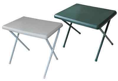 LOW PROFILE RESIN LIGHTWEIGHT RESIN CAMPING TABLE WHITE AND GREEN 40x52x37CM NEW