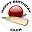 """Premium Cricket 7.5/"""" Bat Ball Sports comestible glaçage rond gâteau Topper D3"""