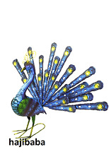 Hand Painted Steel Fan Tailed Peacock Garden Ornament Decoration Item 74.5cm