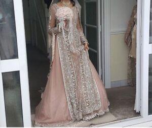 Indian pakistani wedding dress dusky pink and pastel grey ebay image is loading indian pakistani wedding dress dusky pink and pastel junglespirit Image collections