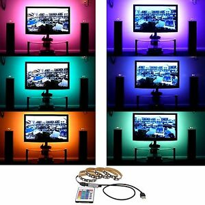 Dc-5V-5050RGB-Tira-de-Luces-LED-TV-Parte-Trasera-Kit-Iluminacion-USB-Ir-Remoto