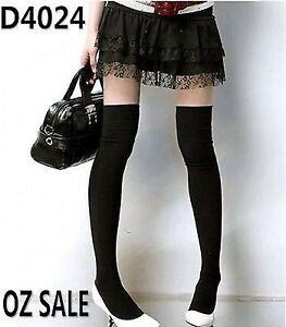 Women-Girls-Lady-Black-Winter-Over-Knee-Leg-Warm-Thigh-High-School-Socks-Tights