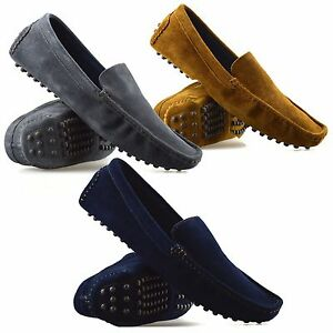 Mens-New-Leather-Suede-Slip-On-Casual-Mocassin-Designer-Loafer-Driving-Shoe-Size