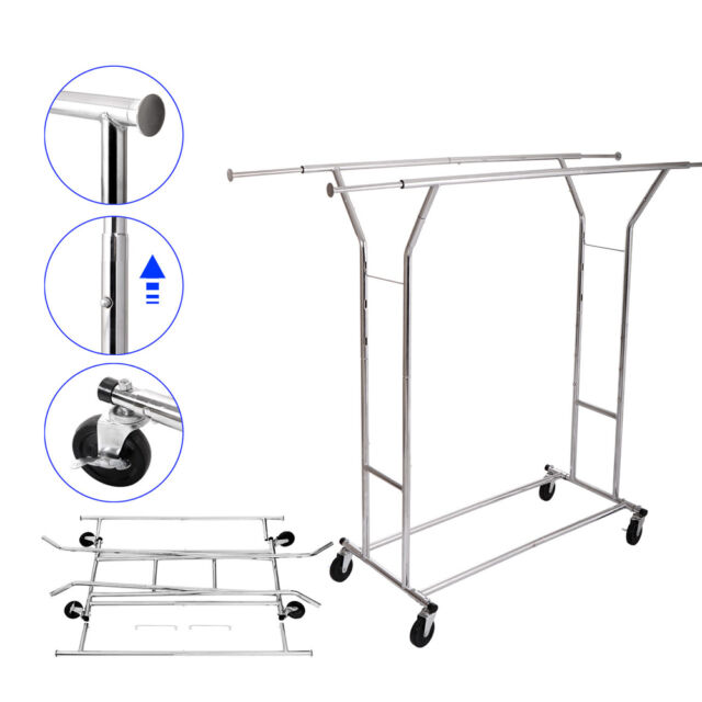Double Rail Rolling Garment Rack Clothing Drying Hanging Collapsible For Online Ebay