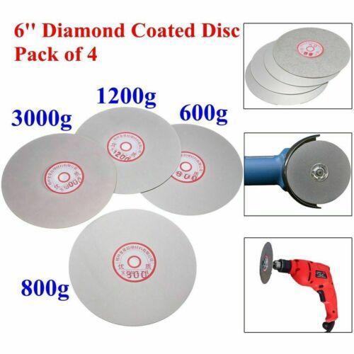4PCS 600 800 1200 3000 Grit Diamond Coated Flat Lap Wheel Grinding Polish Disc