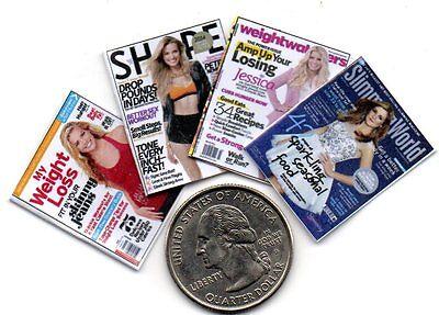 4 mini OPENING Weight Watcher  Slimming World  Diet  MAGAZINES Dollhouse 1:12