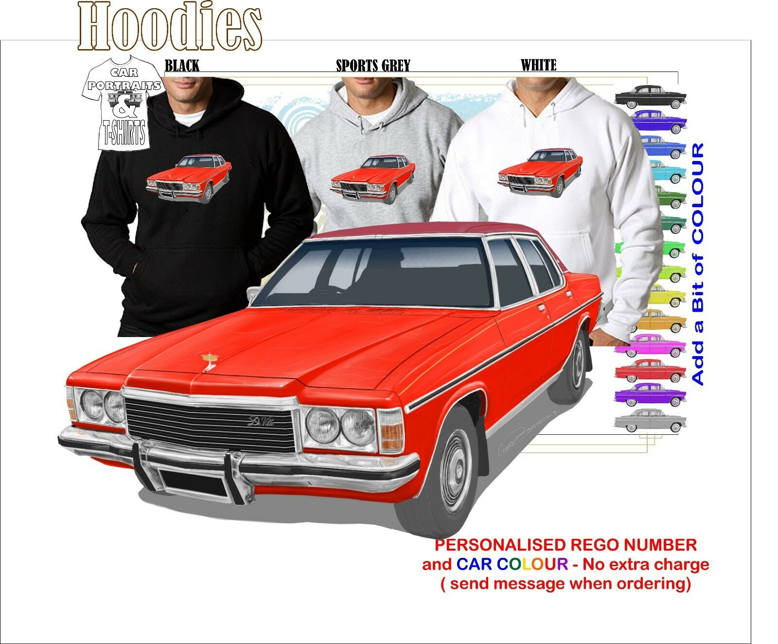 77-80 HOLDEN STATESMAN HOODIE ILLUSTRATED CLASSIC RETRO MUSCLE SPORTS CAR