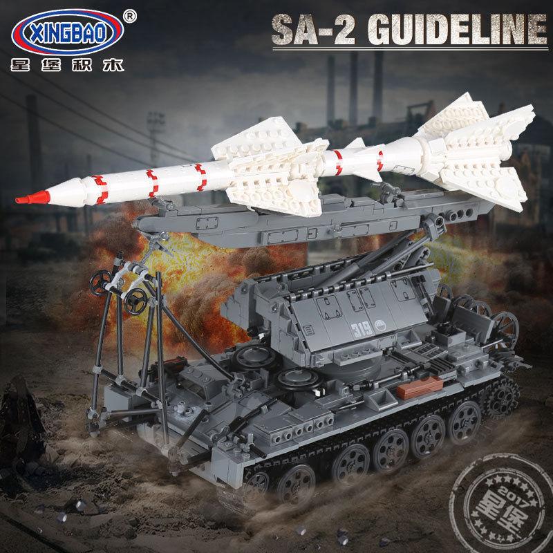 Baukästen Xingbao Ostern 1623Pcs Militär Serie The SA-2 Modell Spielzeug Raketer