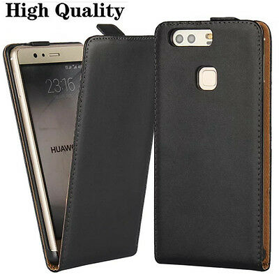 New Genuine Leather Flip Black Case Cover For Various Mobile Phones