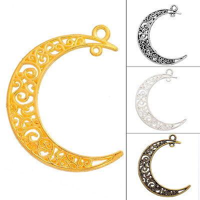 25 Pendentifs Breloques Lune Ajouré Motif Pour Bijoux DIY Charm 3x4cm