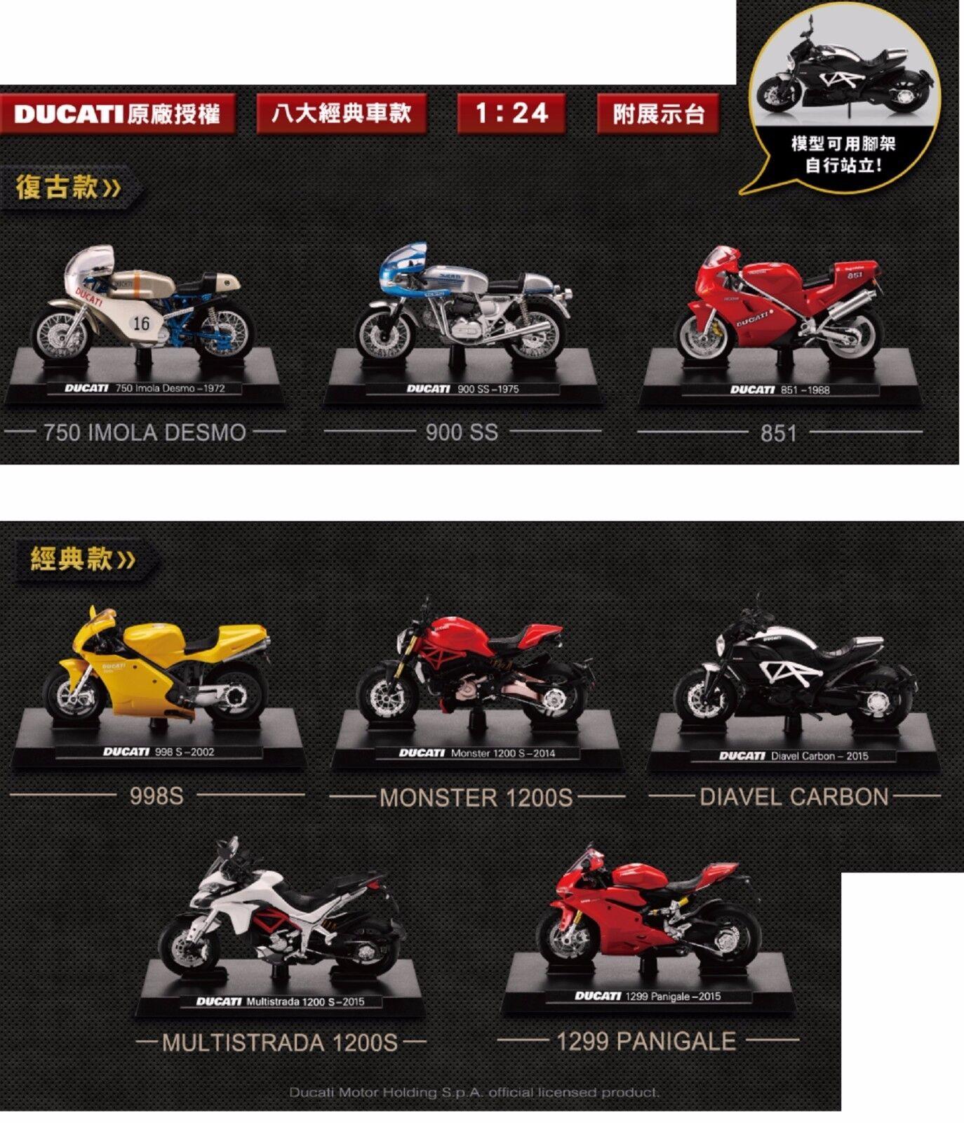 Raro Lote De 8 nuevo 2016 Taiwán DUCATI 1 24 Die Cast Motor Coleccionable