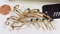 Beautiful Decorative Brooch Pin Peacock Crystals