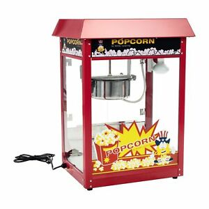 Retro-Popcornmaschine-Popcornmaker-Popcornautomat-1-600-Watt-5kg-h-Dach-Rot-Kino