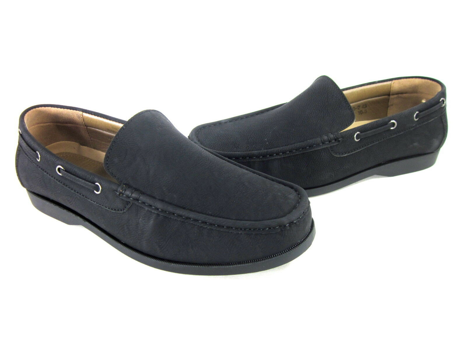 FRANCO BLACK VANUCCI MEN'S GIO SLIP-ON LOAFERS FAUX-LEATHER BLACK FRANCO US SZ 7.5 MEDIUM 85de00