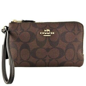 44faa4a18865 Image is loading NWT-Coach-F87591-Double-Corner-Zip-Wristlet-Wallet-