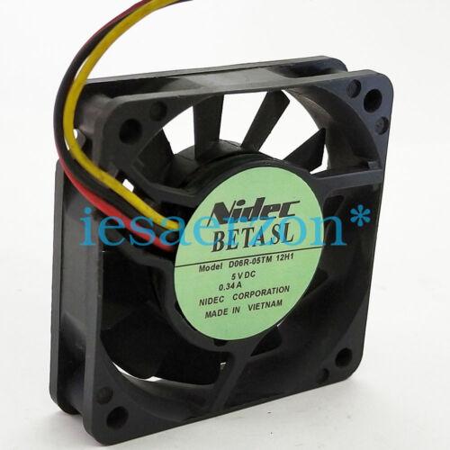 for 1Pcs NIDEC 6015 6CM 5V 0.34A D06R-05TM 12H1 3-wire cooling fan