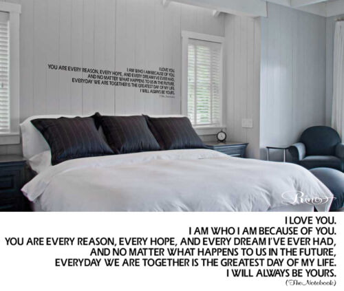THE NOTEBOOK MOVIE QUOTE VINYL WALL DECAL STICKER LETTERING BEDROOM LOVE WEDDING