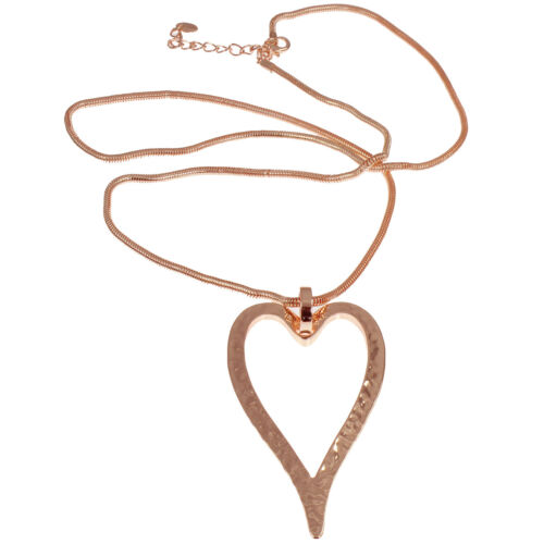 Lagenlook rose gold huge hammered finish heart pendant long necklace jewelry