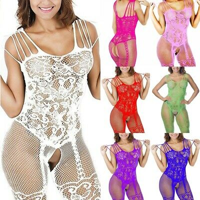 Ehrlich Lingerie Sexy Lace Bodystocking Bodysuit Fishnet Stocking Nightwear Sleepwear Uk Weniger Teuer