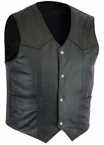 Men-Black-Retro-Style-Biker-Leather-Club-Waistcoat-Vest-Free-Shipping-UK-Stock