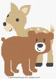Crochet Patterns FOX,BEAR /& FAWN Graph//Chart Afghan Pattern FOREST BABIES