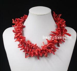 Fabulous-3-Strands-Red-Coral-amp-Green-Agate-Beads-Silver-Necklace-18-034