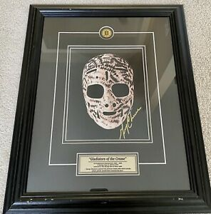 """The Mask Autographed By Gerry Cheevers """"Gladiators Of The Crease"""" Framed Photo"""