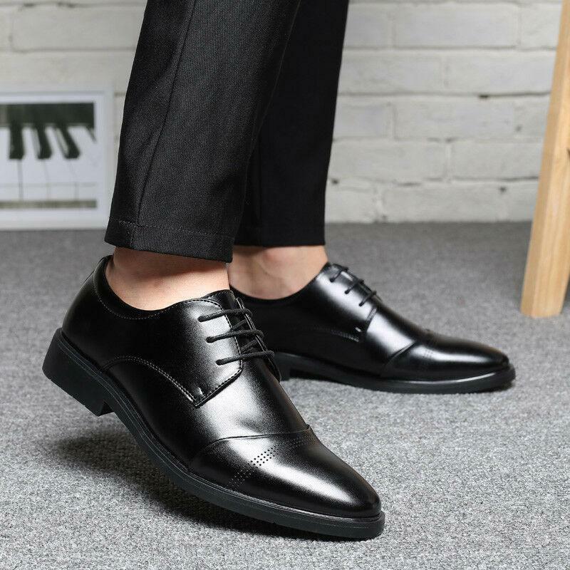 Mens retro Lace up Business casual Party Wedding dress shoes plus size