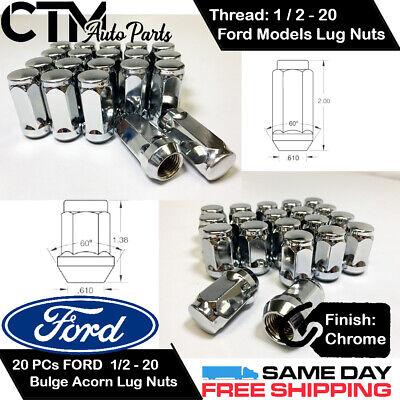 """Lug Nuts Acorn 1//2/"""" Chrome Lugs Nut 20 Pc New Ford Jeep"""