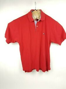 Tommy-Hilfiger-Sz-Lg-Red-Pique-Short-Sleeve-Polo-Shirt-Men-039-s-Free-Shipping