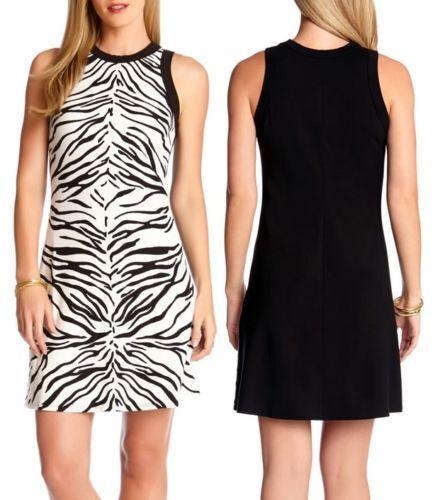 Karen Kane Zebra Animal Print schwarz Weiß Printed Stretch Knit Dress NWT Größe L