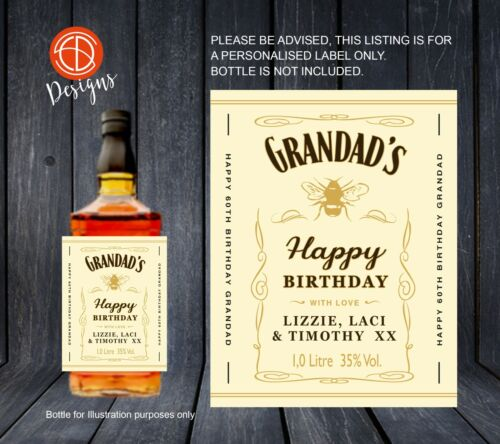 PERSONALISED Whiskey//Whisky Tennessee Honey Bottle LABEL Make a gift UNIQUE 1.5L