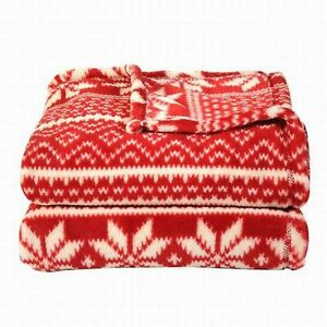 Soft-amp-Lofty-Red-Snowflake-In-A-Row-Oversized-Microplush-So-Soft-Throw-Blanket