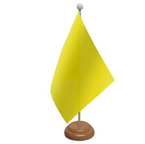 """PLAIN YELLOW TABLE FLAG 9/""""X6/"""" WITH WOODEN BASE POLYESTER FABRIC FLAGS"""