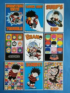 Set-of-9-Official-Beano-Dennis-the-Menace-Postcards-Gnasher-series-2