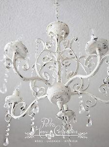 Elegant Das Bild Wird Geladen Kronleuchter Luester 5 Armig Antik Weiss Von Chic