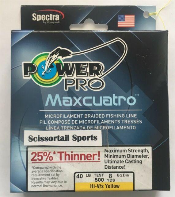 50 lb//150 yd Hi-Vis Yellow Power Pro 33400500150Y Maxcuatro Braided Fishing Line