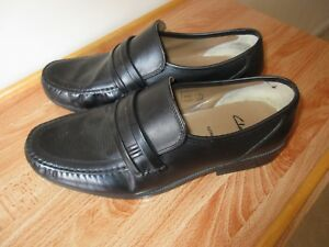 44 Leather Wide 5 Men's 9 On Shoes Slip Clarks Extra Size Black WFqFP1v