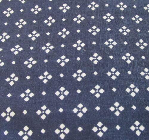 Navy Blue White diamond blender cotton fabric half yard 1//2 cut Vtg 90s