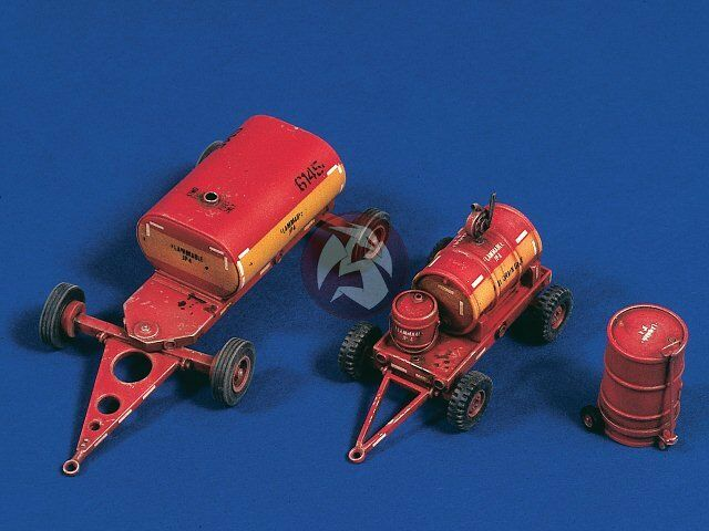 Verlinden 1 48 US Navy Carrier   Airfield Fuel and Oil Carts w Drum Trolley 2551