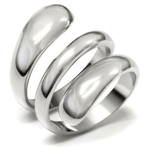 Mjs Women's Stainless Steel Modern Swirl Design Cocktail Fashion Ring Size 8, 9 by Mai Jewelry Shop