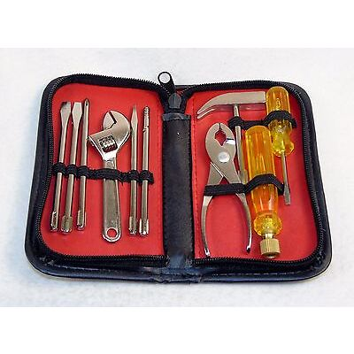 10 Piece Utility Hand Tool Kit w/Zippered Faux Leather Carry Case