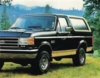 1989 Ford Big Bronco Truck Brochure / Catalog With Color Chart: Xlt,eddie Bauer