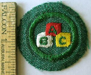 SCHOLARSHIP 1930s Girl Scout Intermediate NICE Badge Silver Green Multi=1 Ship