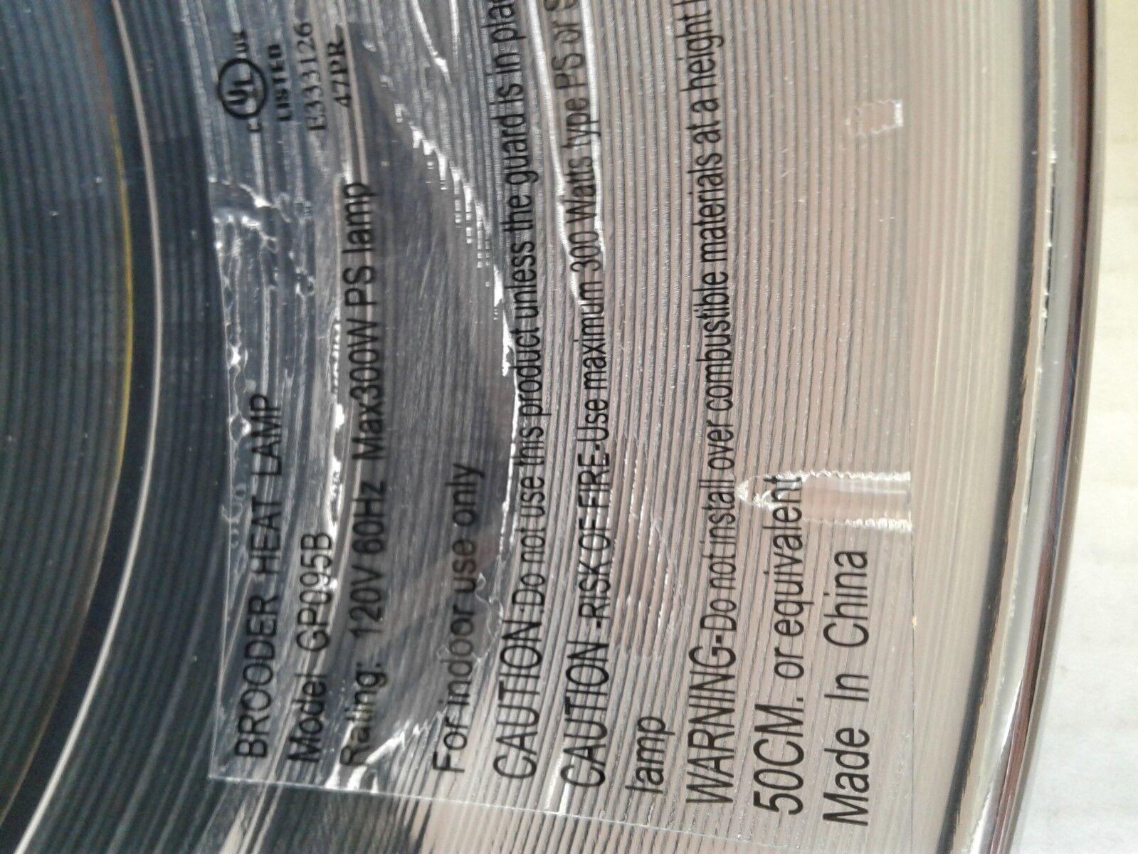 Brooder Heat Lamp 300 watts 9/' cord Reflector Sheild /& Guard CD Pro Power Cords