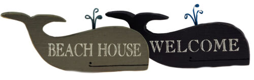 Set Of 2 Wooden Whale Free Standing Ornaments BEACH HOUSE WELCOME