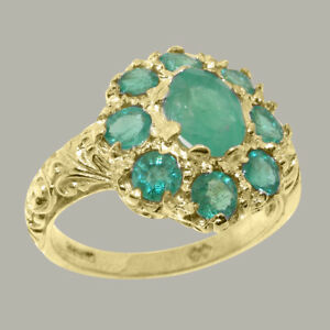 Solid-9ct-Yellow-Gold-Natural-Emerald-Womens-Cluster-Ring-Sizes-J-to-Z